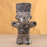 Ceramic figurine, 'Silver Cuchimilco Woman - Ceramic Cuchimilco Woman Figurine in Silver from Peru