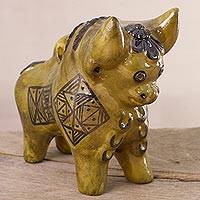 Ceramic figurine, 'Gold Pucara Torito' - Ceramic Torito de Pucara Figurine in Gold from Peru