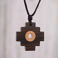 Wood pendant necklace, 'Layered Chakana' - Handmade Chakana Cross Wood Pendant Necklace from Peru