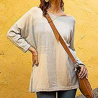 Pima cotton blend tunic, 'Sun Block' - Cream and Pale Blue Long Sleeve Pima Cotton Knit Tunic