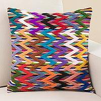 Wool cushion cover, 'Vibrant Zigzag' - Colorful Zigzag Motif Wool Cushion Cover from Peru