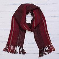 100% alpaca scarf, 'Andean Zigzag in Crimson' - Handwoven 100% Alpaca Wrap Scarf in Crimson from Peru