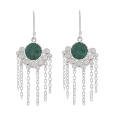 Natural Chrysocolla Chandelier Earrings from Peru