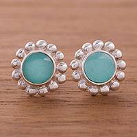 Opal button earrings, 'Bauble Delight' - Blue Opal Button Earrings from Peru