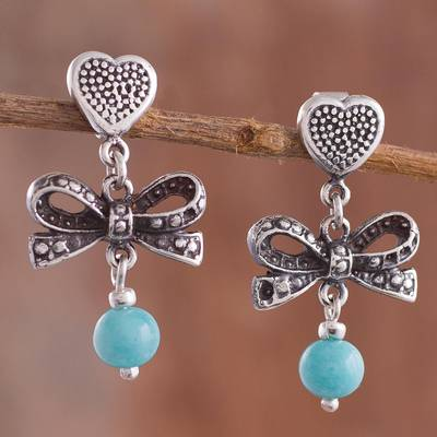 Amazonite dangle earrings, 'Heart Bows' - Heart-Shaped Amazonite Dangle Earrings from Peru