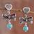 Amazonite dangle earrings, 'Heart Bows' - Heart-Shaped Amazonite Dangle Earrings from Peru thumbail