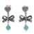 Amazonite dangle earrings, 'Heart Bows' - Heart-Shaped Amazonite Dangle Earrings from Peru (image 2a) thumbail