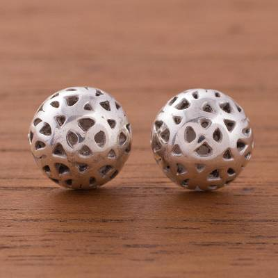 Sterling silver stud earrings, 'Lunar Craters' - Crater Motif Sterling Silver Stud Earrings from Peru