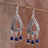 Lapis lazuli chandelier earrings, 'Droplet Stream' - Drop-Shaped Lapis Lazuli Chandelier Earrings from Peru