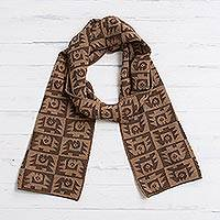 Alpaca blend scarf, 'Brown Paracas Shadows' - Alpaca Blend Espresso and Tan Scarf from Peru