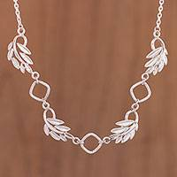 Sterling silver pendant necklace, 'Beautiful Fronds' - Leaf Motif Sterling Silver Pendant Necklace from Peru