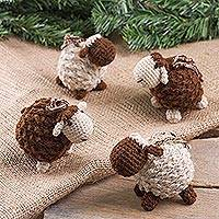 Wool blend ornaments, 'Sweet Sheep in Dark Brown' (set of 4) - Hand Crocheted Wool Blend Brown Sheep Ornaments (Set of 4)