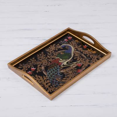 Reverse-painted glass tray, 'Peacock Charm in Gold' (17 inch) - Reverse-Painted Glass Peacock Tray in Gold (17 in.)