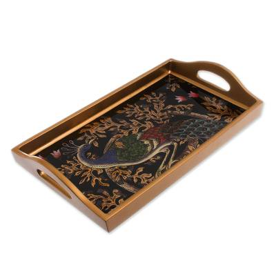 Handcrafted Colorful Peacock Reverse-Painted Glass Tray