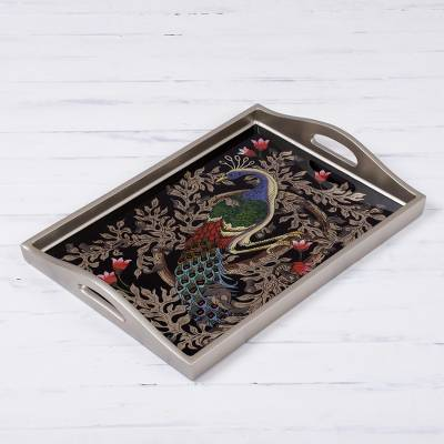 Reverse-painted glass tray, 'Peacock Charm in Silver' (17 inch) - Reverse-Painted Glass Peacock Tray in Silver (17 in.)