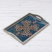 Reverse-painted glass tray, 'Enchanting Flowers in Blue' - Floral Reverse-Painted Glass Tray in Blue from Peru