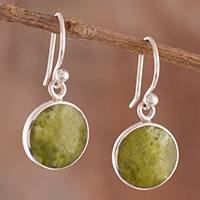 Serpentine dangle earrings, 'Serpentine Eyes' - Round Serpentine Dangle Earrings from Peru