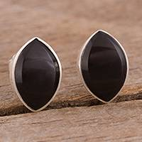 Obsidian button earrings, 'Midnight Eyes' - Natural Obsidian Button Earrings from Peru