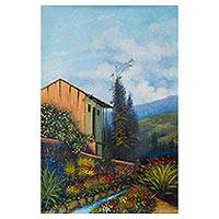 'Memory of My Home' - Signed Impressionist Painting of a Mountainside Hut