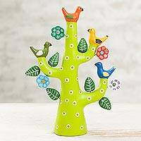 Ceramic sculpture, 'Green Tree of Doves' - Hand-Painted Ceramic Dove Tree Sculpture in Green from Peru