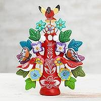 Ceramic sculpture, 'Majestic Tree in Red' - Hand-Painted Floral Ceramic Dove Tree Sculpture in Red
