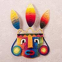 Alpaca blend mask, 'Rainbow Inca' - Inca-Inspired Handwoven Alpaca Blend Wall Mask from Peru