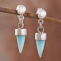 Amazonite dangle earrings, 'Natural Cones' - Amazonite Cone Dangle Earrings from Peru