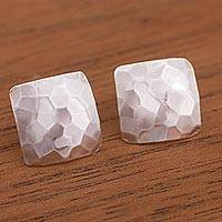 Sterling silver button earrings, 'Hammered Squares' - Modern Square Sterling Silver Button Earrings from Peru
