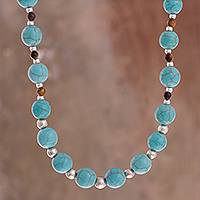 Beaded necklace, 'Tiny Islands' - Tiger's Eye and Recon. Turquoise Beaded Necklace from Peru