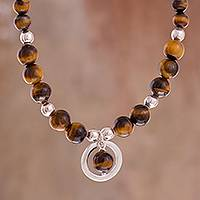 Tiger's eye beaded pendant necklace, 'Beautiful Planets' - Tiger's Eye Beaded Pendant Necklace from Peru