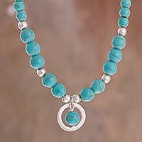 Sterling silver beaded pendant necklace, 'Beautiful Planets' - Sterling Silver and Recon. Turquoise Beaded Pendant Necklace