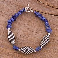 Sodalite beaded bracelet, 'Spiral Patterns' - Spiral Pattern Sodalite Beaded Bracelet from Peru