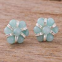 Amazonite button earrings,