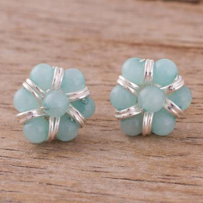 Amazonite button earrings, 'Earth Orbs' - Amazonite Beaded Button Earrings from Peru