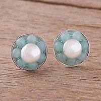 Amazonite button earrings, 'Orb Shields' - Round Amazonite Button Earrings from Peru