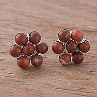 Jasper button earrings, 'Orb Gathering' - Jasper Beaded Button Earrings Crafted in Peru