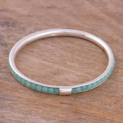 Amazonite bangle bracelet, 'Beautiful Tunnel' - Amazonite Beaded Bangle Bracelet from Peru