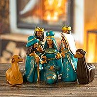 Ceramic nativity scene, 'Arrival of Jesus' (set of 8) - Handcrafted Ceramic Nativity Scene in Blue (Set of 8)