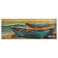 'Boats at Sunset' - Signed Realist Painting of Two Boats from Peru