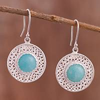 Amazonite filigree dangle earrings,