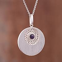 Amethyst filigree pendant necklace, 'Mystic Window' - Amethyst Filigree Pendant Necklace Crafted in Peru
