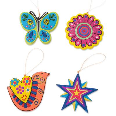 Assorted Hand-Painted Ceramic Ornaments from Peru (Set of 4)