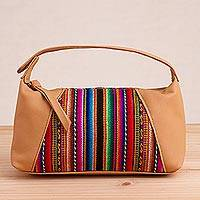 Leather accent wool blend cosmetic bag,