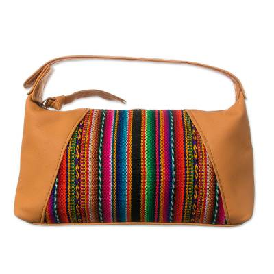 Colorful Leather Accent Wool Blend Cosmetic Bag from Peru