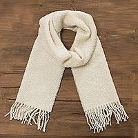 100% alpaca scarf, 'Andean Delight in Bone' - 100% Alpaca Wrap Scarf in Solid Bone from Peru