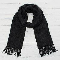 100% alpaca scarf, 'Andean Delight in Black' - 100% Alpaca Wrap Scarf in Solid Black from Peru