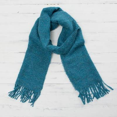 100% alpaca scarf, 'Andean Delight in Teal' - 100% Alpaca Wrap Scarf in Solid Teal from Peru