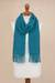100% alpaca scarf, 'Andean Delight in Teal' - 100% Alpaca Wrap Scarf in Solid Teal from Peru (image 2c) thumbail
