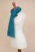 100% alpaca scarf, 'Andean Delight in Teal' - 100% Alpaca Wrap Scarf in Solid Teal from Peru (image 2e) thumbail