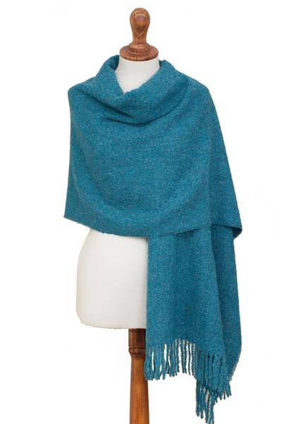 100% alpaca shawl, 'Andean Delight in Teal' - 100% Alpaca Shawl in Solid Teal from Peru